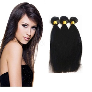 Straight Brazilian Human Hair Extension 3 Bundles 100% 6a Remy Hair Natural Black , Mixed Length (14