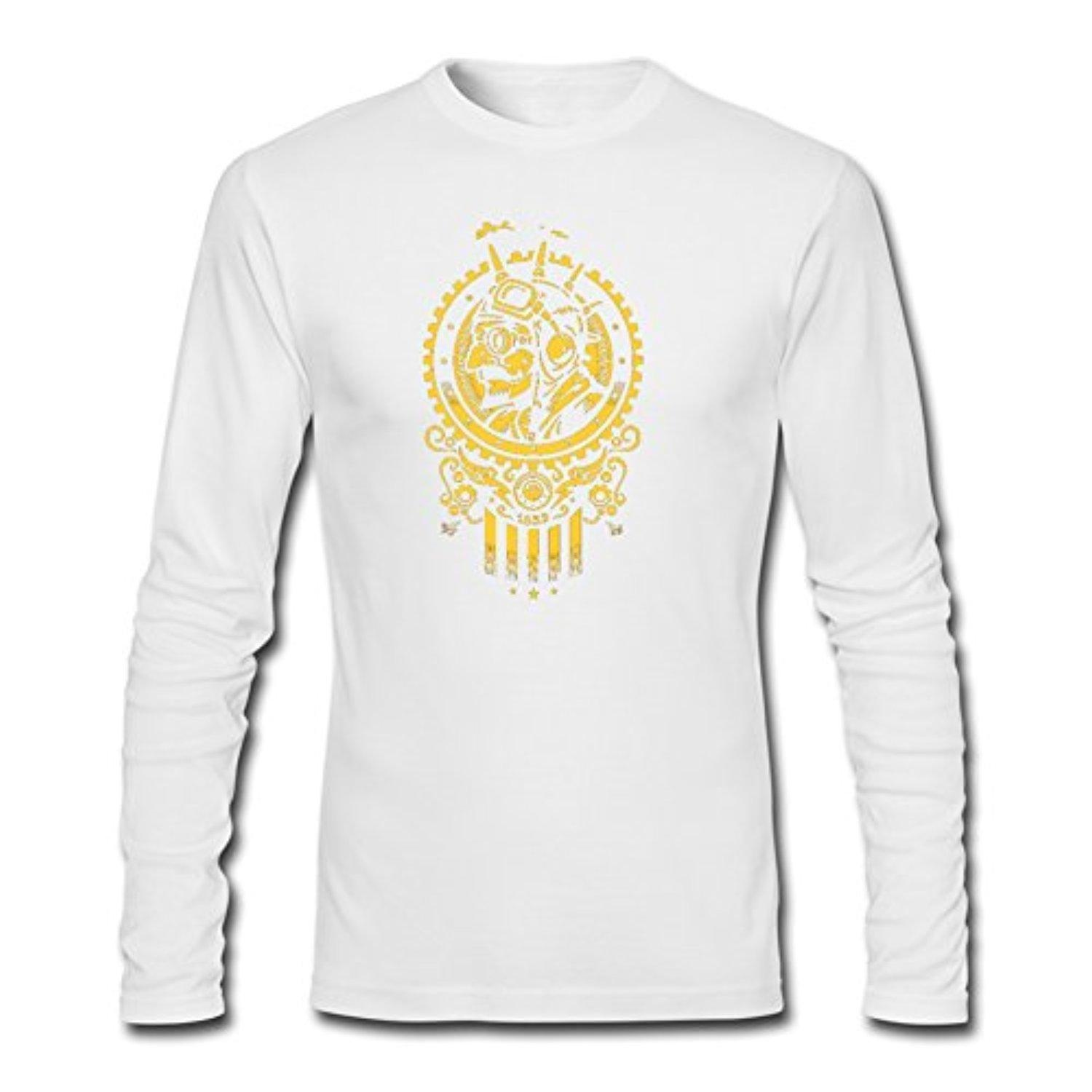 Steampunk 1852 for Men Printed Long Sleeve Cotton T-shirt