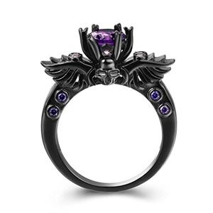 LAMOON Black Gold Plated 2ct 8mm Round Cut Amethyst Purple CZ Cubic Zirconia Vintage Gothic Skull Ring