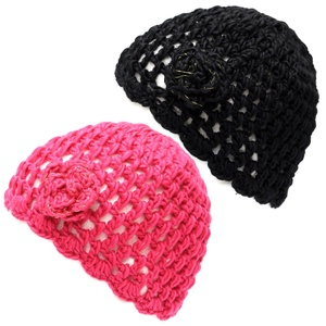 The Hat Depot 700hat20 Women's Crochet Knit Beanie with Flower Decoration (Black Fuchsia)