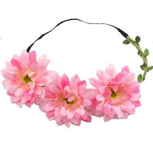 Floral Fall Women's African Daisy Flower Crown Bridal Hair Wreath Headband F-28 (Pink)