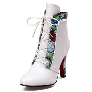 Fashion Heel Women's Chunky Heel Round Toe Flower Print Lace Up Ankle Bootie (9, white)