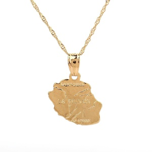 Gold Plated La Reunion Map Pendant Necklace Country Map France Reunion Island Maps