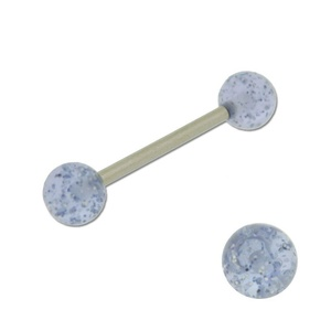 Acrylic Barbell Tongue Ring with Light Blue Glitter Ball
