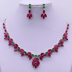 24K Gold Plated Red Ruby Necklace Crystal Jewelry Sets Necklace Earrings (Platinum Plated)