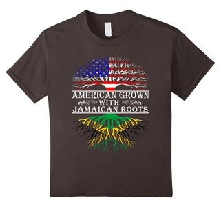 Kids American Grown With Jamaican Roots Proud T-Shirt For Women M 10 Asphalt