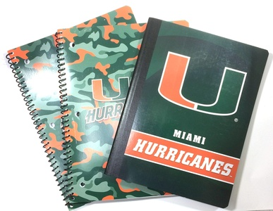 Miami Hurricanes Sports Memorabilia, 2 - One Subject (70 Perforated Sheets) College Ruled Notebooks, 1 - (100 Sheets) Composition Book