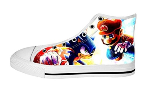 Women's High Top Full Canvas Upper Soft Inner Canvas Shoes Custom Mario and Sonic Design