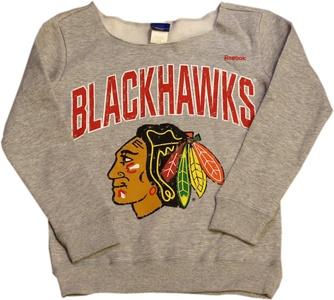 Chicago Blackhawks Youth Girls Crew Neck Sweatshirt Arched Logo 12418