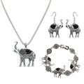 Womens Alloy Resin Elephant Pendant Necklace Bracelet Dangle Earrings Jewelry Set NK1161-Black