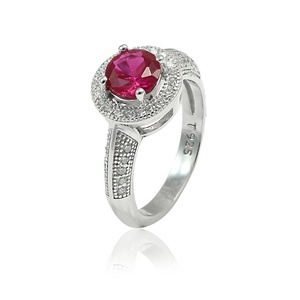 Accent Halo Wedding Engagement Ring Round Red Simulated Ruby Pave Round CZ 925 Sterling Silver