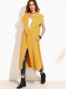 Yellow Sleeveless Wrap Coat with Drape Collar