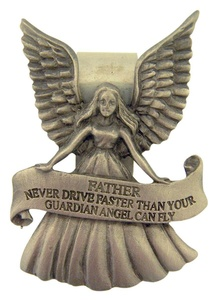 Pewter Guardian Angel with Father Never Drive Faster Banner Visor Clip, 2 1/4 Inch