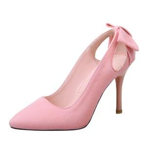 Show Shine Women's Cute Bows High Heel Point Toe Pumps Dress Shoes (9, black)