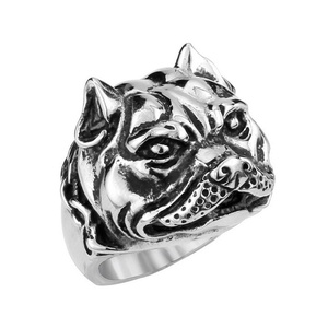 ARICO men trendy jewelry Stainless Steel Bulldog Ring Unique fashion animal Ring 9.0