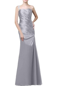 MissDressy Mermaid One-shoulder Ruch Long Prom Dress Evening Party Formal Gown-8-Silver