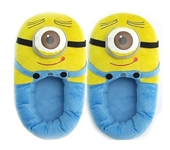 1 X Despicable Me 3D Eyes Minion Stewart Soft Plush Doll Adult Plush Slippers by Cute Slippers
