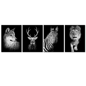 Live Art Decor- Black and White Animal Canvas Print,4 Pieces Wolf Deer Zebra Lion on Dark Background Canvas Wall Art,Easy Wall Hanging,Living Room Bedroom Decoration
