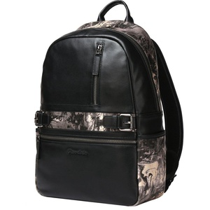 Bison Denim Mens Real Leather Men's Hiking Backpack Bookbag Travel bag (Black5)