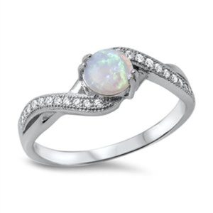 Womens Everyday Ring Sterling Silver Lab Created White Opal Centered Promise Wedding Band Gift for Her Size 7