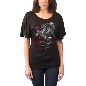 Spiral T Shirt Dragon Rose Womens Goth Boat Neck Bat Sleeve Top Black