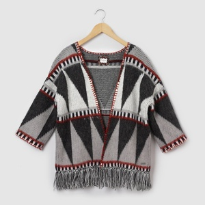 Pepe Jeans Big Girls Fringed Poncho Cardigan, 8-16 Years Black Size 10 Years - 54 In.
