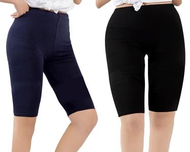 Zando Women's Modal Over The Knee Length Smooth Short Plus Size Sport Leggings B 2 Pairs Black w Navy Blue US 2X Plus-US 4X Plus