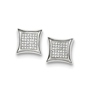 .925 Sterling Silver 12 MM CZ Pave Square Post Stud Earrings