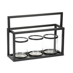 Candle Holder Display Black Metal And Glass Jar Set