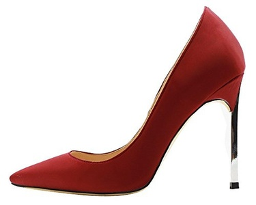 Maikool women's Elegant Big Size Satin High Metal Heel Pointed Toe Solid Pumps Party Wedding Court Shoes 11 M US Deep Red