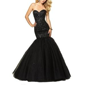 YinWen Women's Sweetheart Strapless Beaded Bodice Mermaid Pageant Prom Dress Size 2 US Black