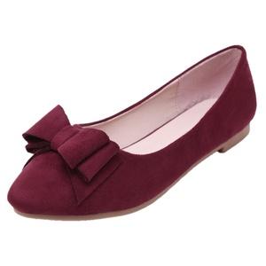 Women Ballet Flats HooH Pointed Toe Slip On Bowknot Flats Red 7 B(M) US