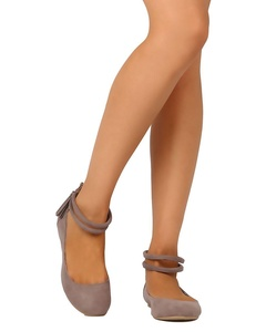 Qupid FE62 Women Faux Suede Ankle Strap Tasseled Ballet Flat - Taupe (Size: 6.0)