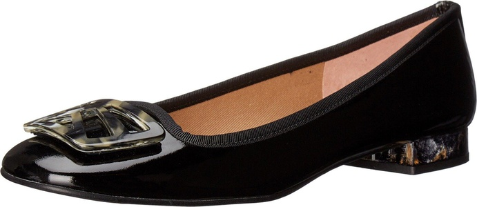 French Sole Women's Talisman Black Patent Flat 10 M