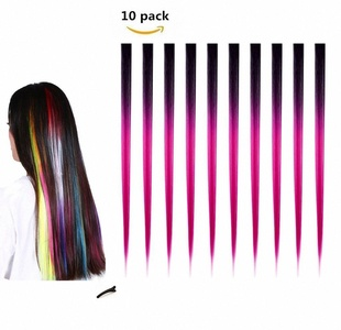 FESHFEN 10 Pcs Black to Rose Pink Two Tones Ombre Straight Clip on in Hair Extensions Hairpieces 18 Inches Long Remy Hair Colored Party Highlights Hair Accessories DIY Cosplay Gift Hairpin