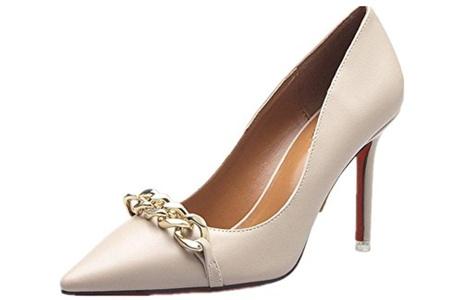 QINGYUAN Women's Pointy Pumps Classic Stiletto Heel Shoes New US 8 Beige
