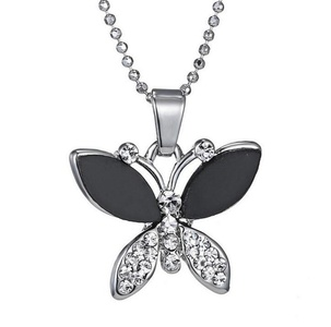 Gudeke Fashion Simple Womens Black Butterfly Diamond Necklaces with 50cm Chain