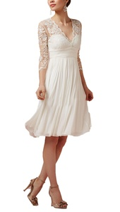 Pandora Women's 3/4 Sleeve V-Neck Lace Tea Length Wedding Dresses for Bride Formal Gowns (26W, Ivory)