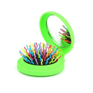 Candy Brush Mini Folding Detanging Hair Brush with Mirror Travel Compact Packet Hairbrush,(Green)
