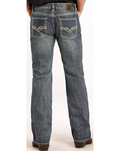 Rock & Roll Cowboy Men's And Pistol Fit Double V Jeans Straight Leg Denim 32W x 30L