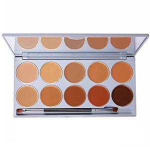 DE'LANCI Professional 10 Color Cream Concealer Foundation Makeup Palette Set with Mirror Make Up Brush Tool by DE'LANCI