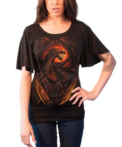 Spiral T Shirt Dragon Furnace Womens Goth Boat Neck Bat Sleeve Top Black