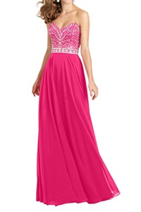 Winnie Bride Classy Jeweled Evening Dress for Women Formal Pageant Gown Long-24W-Fuchsia