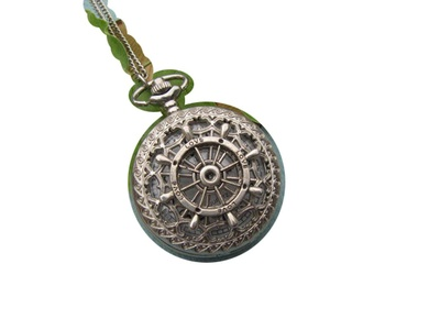 Ancient silver Ship Rudder Pocket Watch Necklace,Rudder Pocket Watch Charm Necklace,