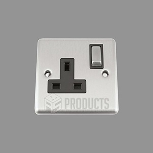 A5 Socket Single 1 Gang Satin Brushed Chrome Classic - Black Insert - Metal Rocker Switches by A5 Products