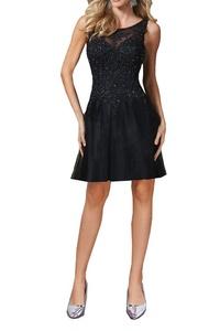 MILANO BRIDE Elegant Evening Dress Prom Gown Jewel Applique Backless A-line-6-Black(short)