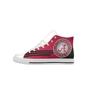 H-MOE Art Ncaa Alabama Crimson Tide Women's High Top Lace-up Action Leather Breathable Sneakers,White