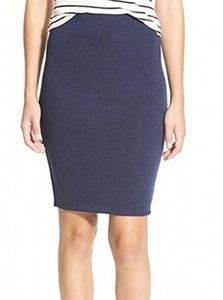 Lily White Women's Medium Stretch Straight Pencil Skirt Blue M