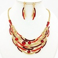 ARICO Enamel Jewelry Gold Plated Jewelry Set Red Crystal Jewelry Sets Sapphire Hollow Moon Necklace Set Earrings NB264