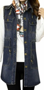 Cruiize Women's Frayed Drawstring Medium Long Denim Vest